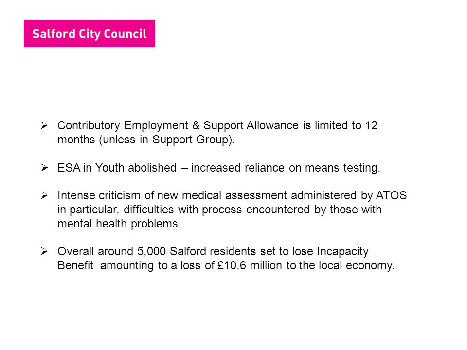 ESA in Youth abolished – increased reliance on means testing.