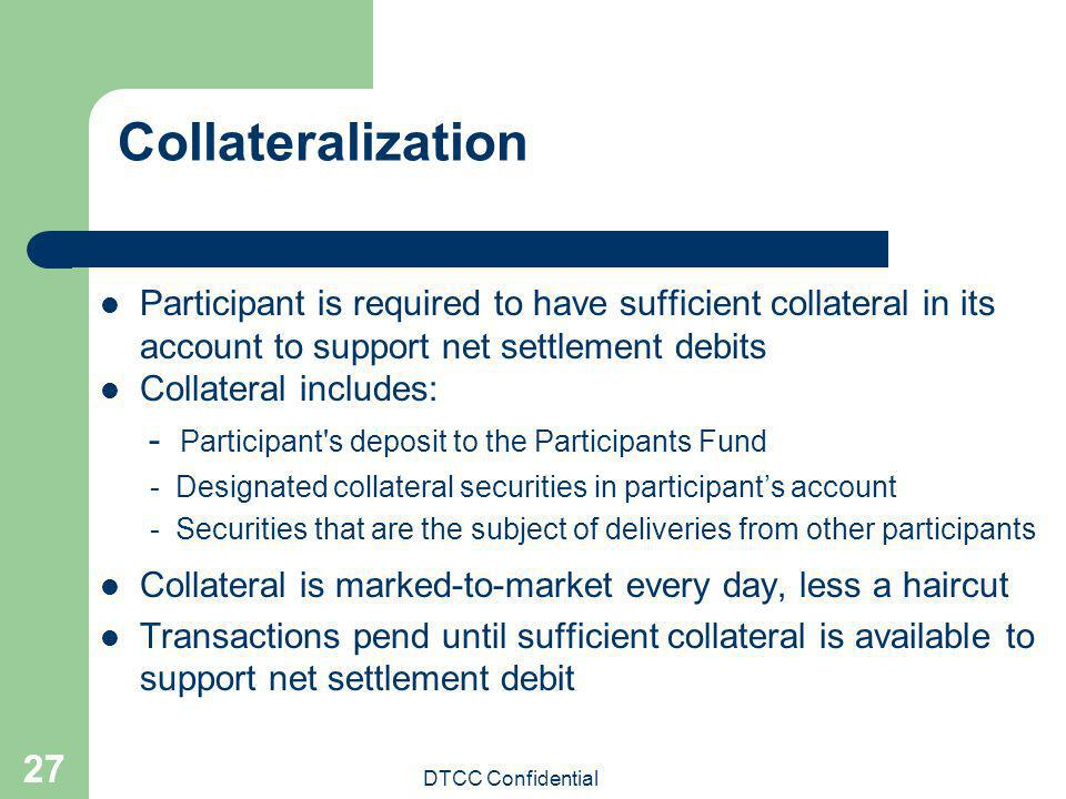 Collateralization Participant is required to have sufficient collateral in its account to support net settlement debits.