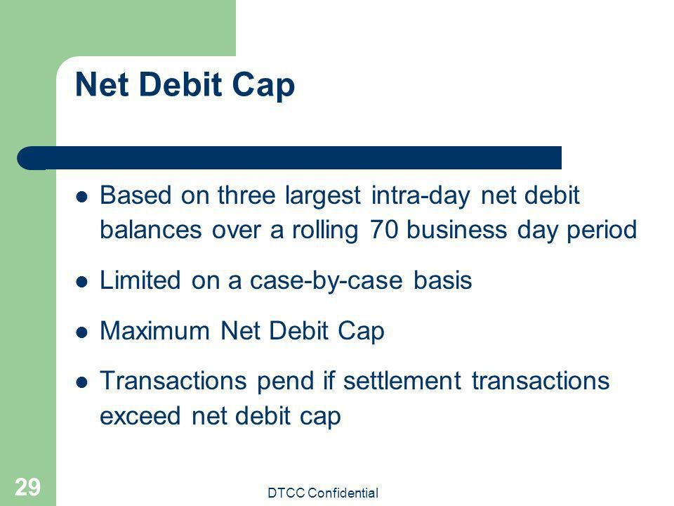 Net Debit Cap Based on three largest intra-day net debit balances over a rolling 70 business day period.