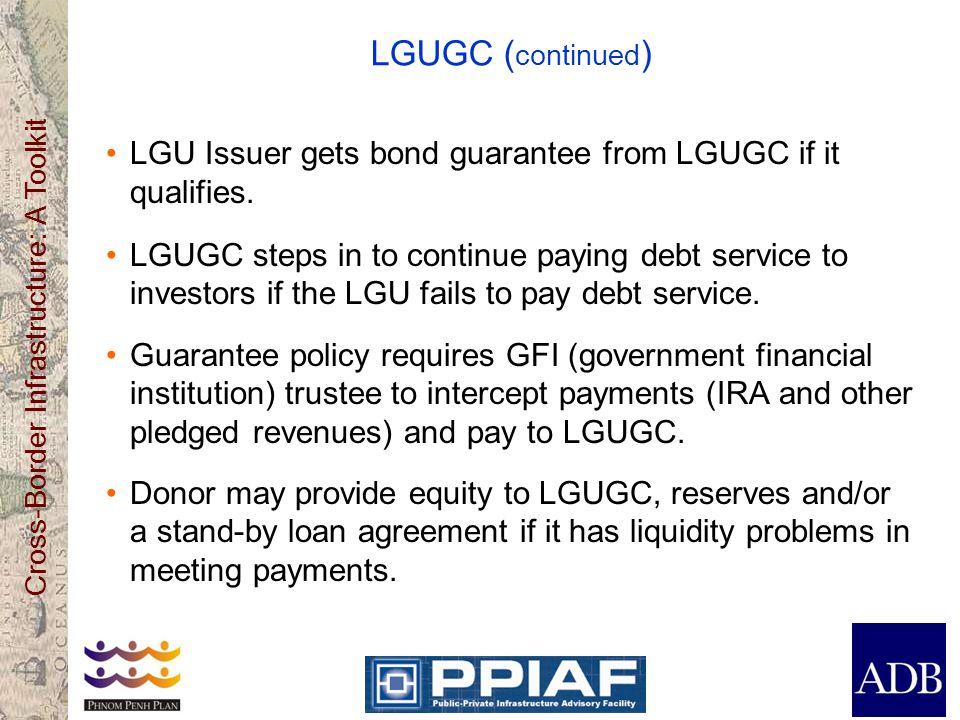 LGUGC (continued) LGU Issuer gets bond guarantee from LGUGC if it qualifies.