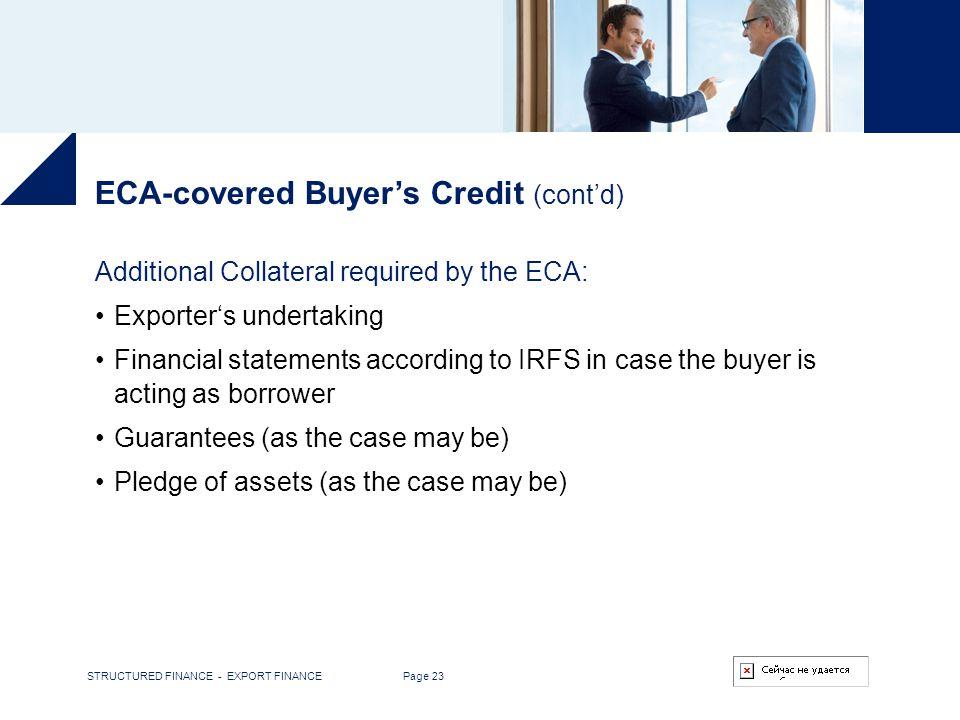 ECA-covered Buyer's Credit (cont'd)
