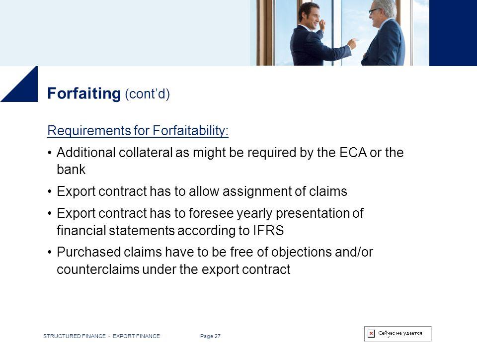 STRUCTURED FINANCE EXPORT FINANCE ppt download – Export Contract