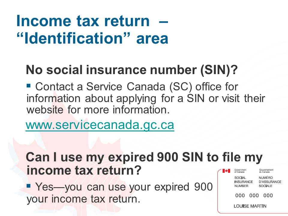 Income tax return – Identification area
