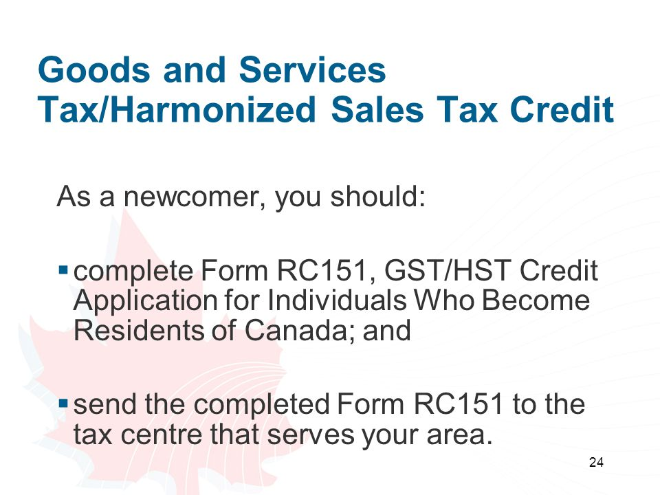 Goods and Services Tax/Harmonized Sales Tax Credit