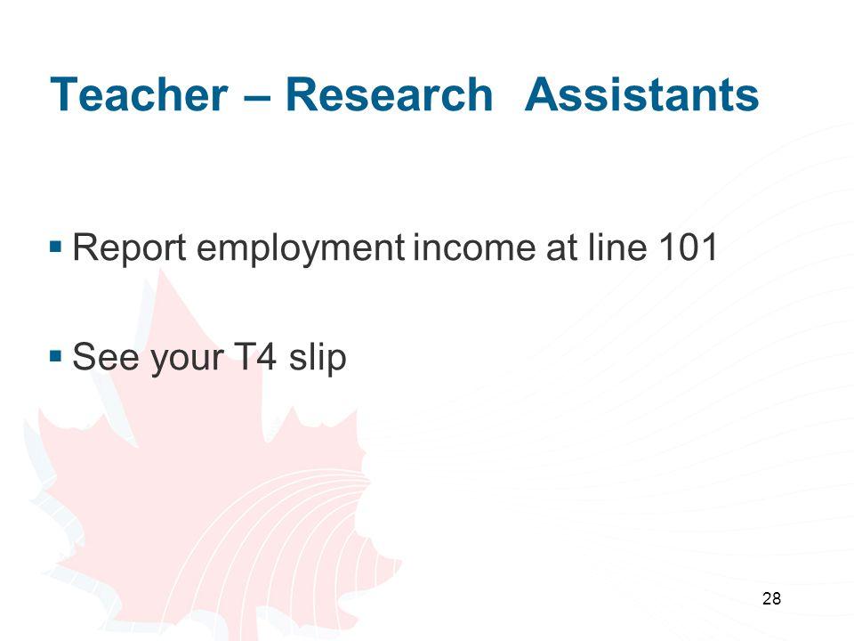 Teacher – Research Assistants