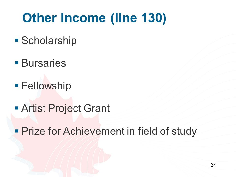 Other Income (line 130) Scholarship Bursaries Fellowship