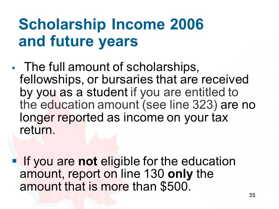 Scholarship Income 2006 and future years