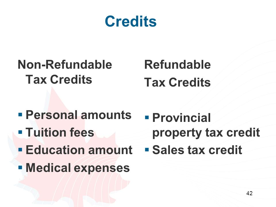 Credits Non-Refundable Tax Credits Personal amounts Tuition fees