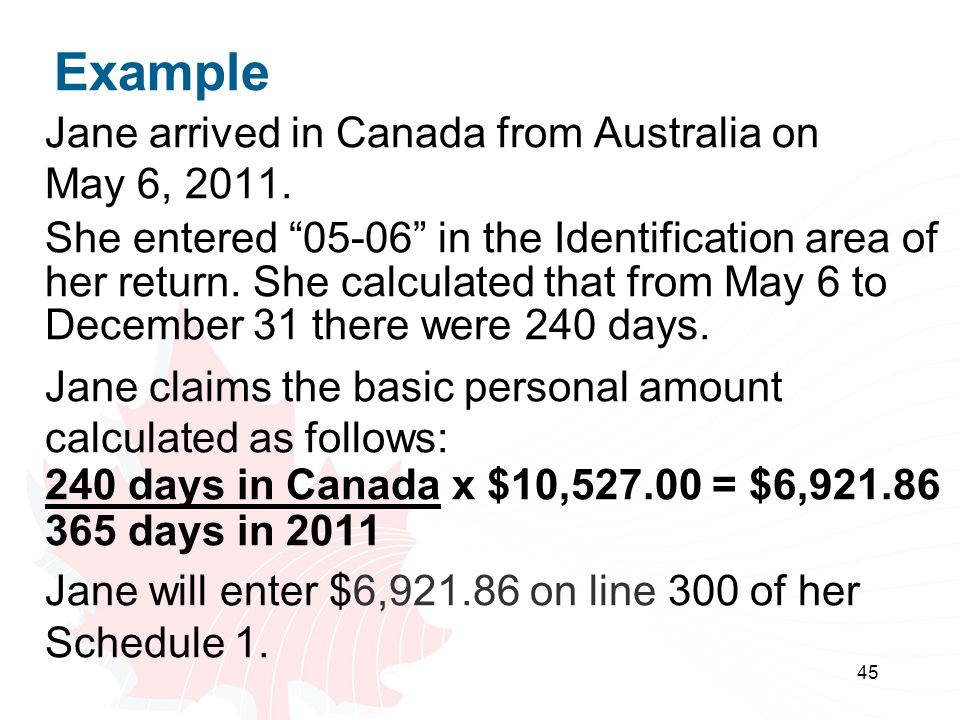 Example Jane arrived in Canada from Australia on May 6, 2011.