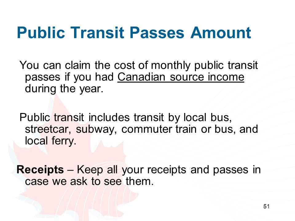 Public Transit Passes Amount