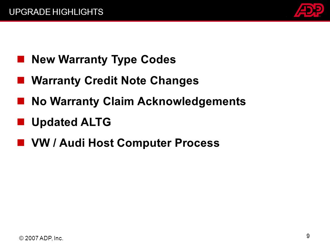 New Warranty Type Codes Warranty Credit Note Changes