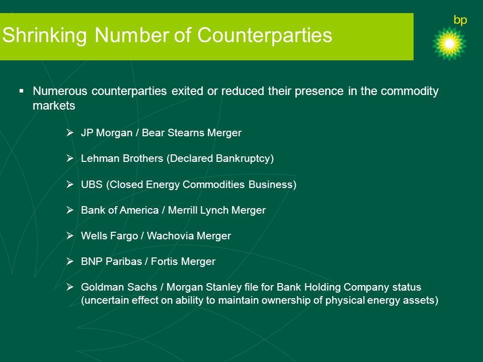 Shrinking Number of Counterparties