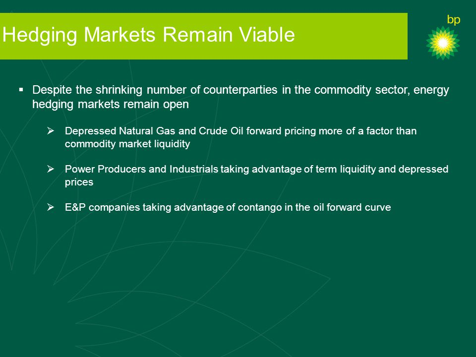 Hedging Markets Remain Viable