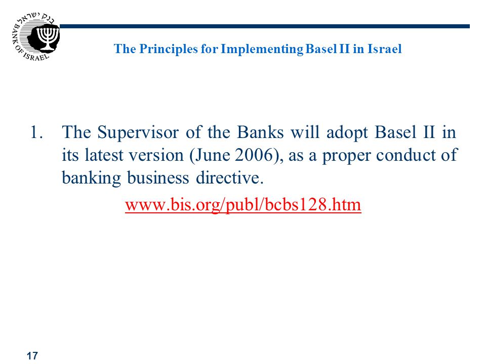 The Principles for Implementing Basel II in Israel