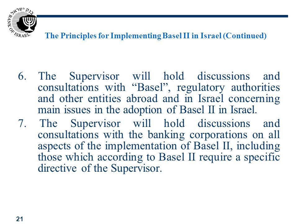 The Principles for Implementing Basel II in Israel (Continued)