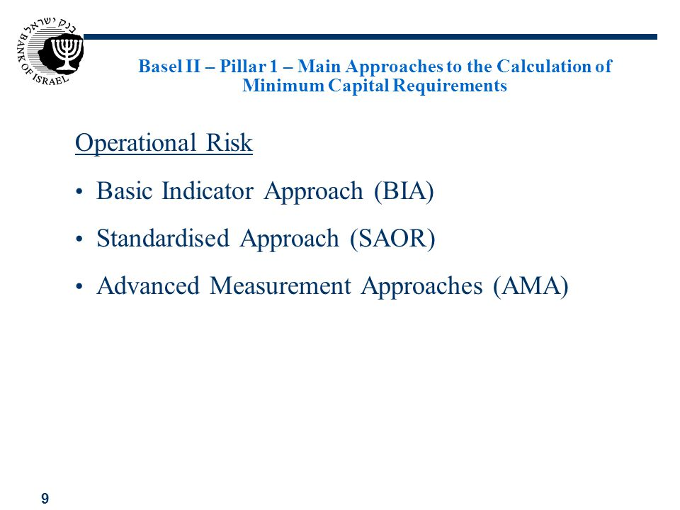 Basic Indicator Approach (BIA) Standardised Approach (SAOR)