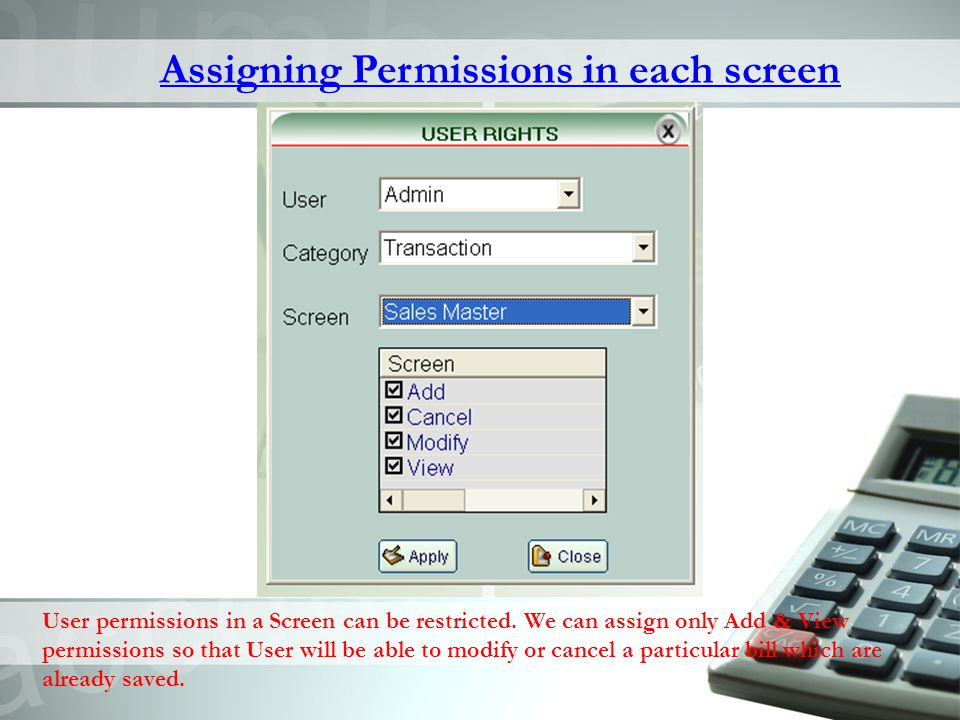 Assigning Permissions in each screen