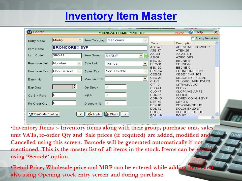 Inventory Item Master