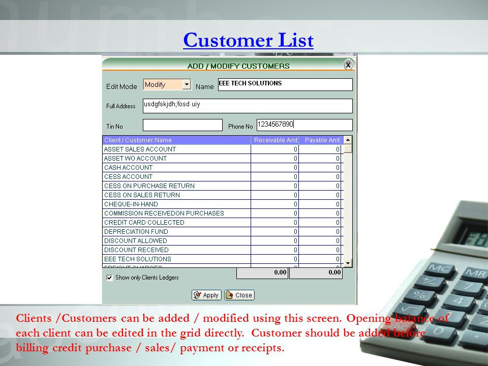 Customer List