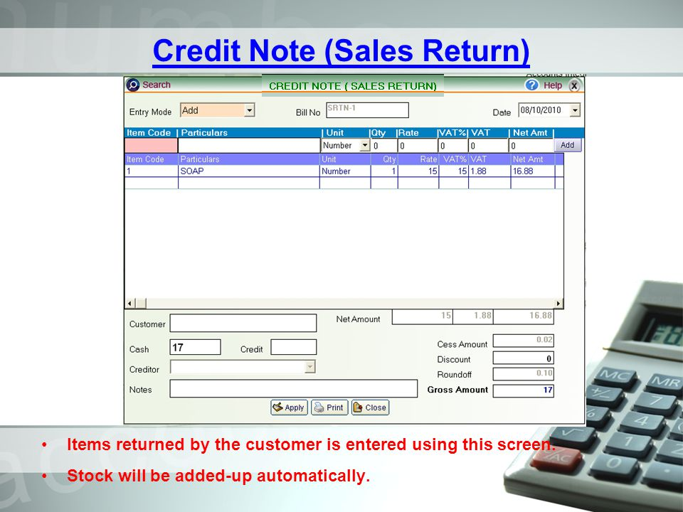 Credit Note (Sales Return)