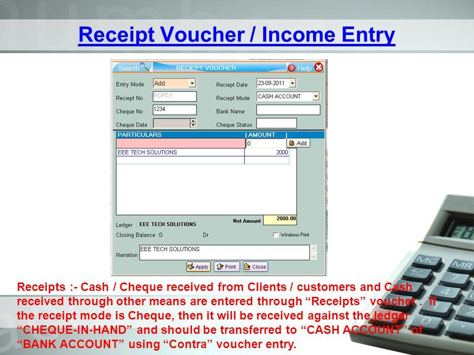 Receipt Voucher / Income Entry