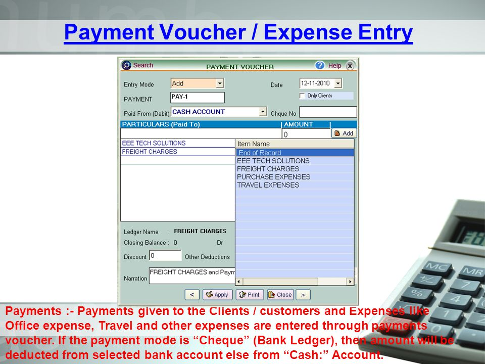 Payment Voucher / Expense Entry