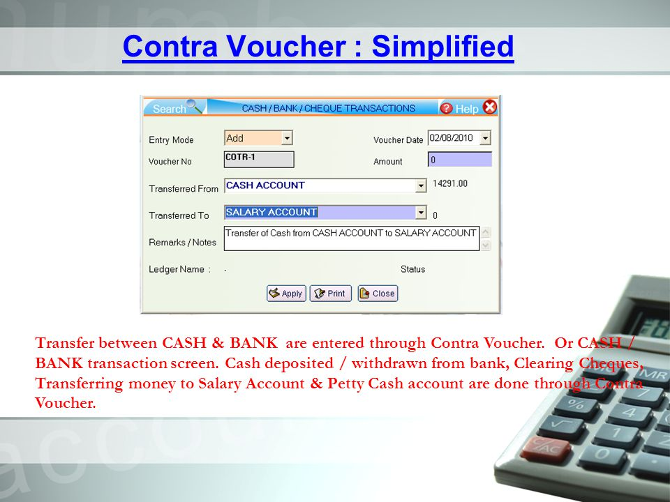 Contra Voucher : Simplified