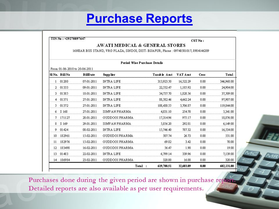 Purchase Reports Purchases done during the given period are shown in purchase report.