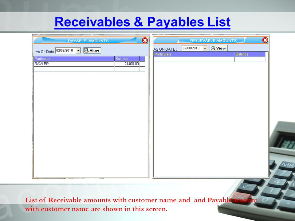 Receivables & Payables List
