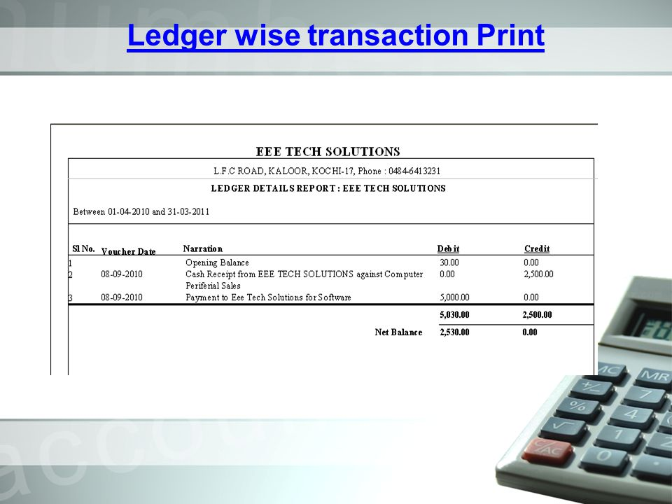 Ledger wise transaction Print