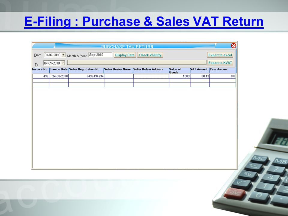 E-Filing : Purchase & Sales VAT Return