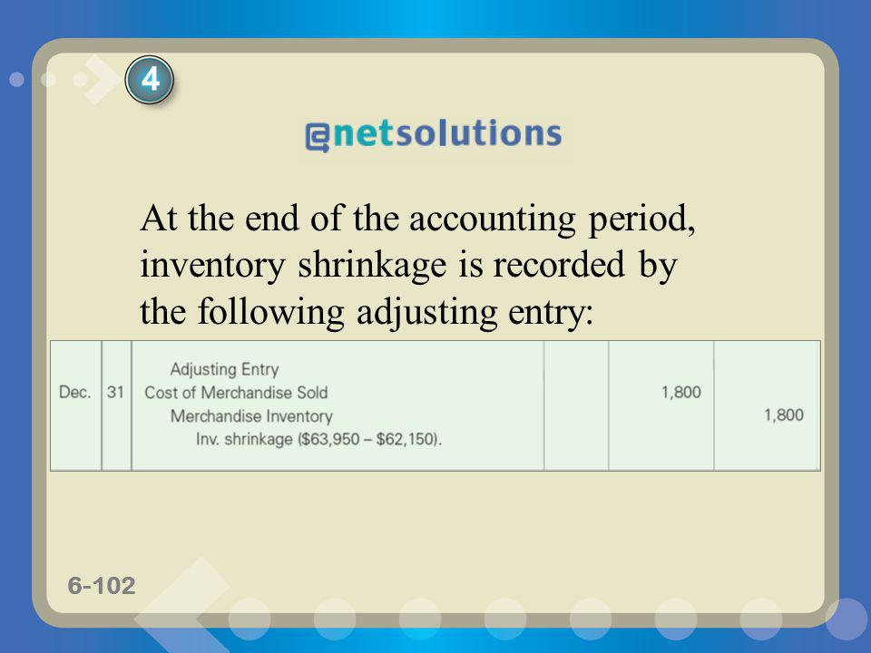 4 At the end of the accounting period, inventory shrinkage is recorded by the following adjusting entry: