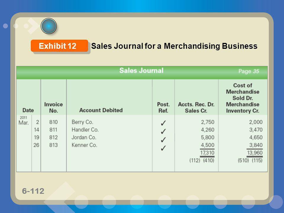 Exhibit 12 Sales Journal for a Merchandising Business