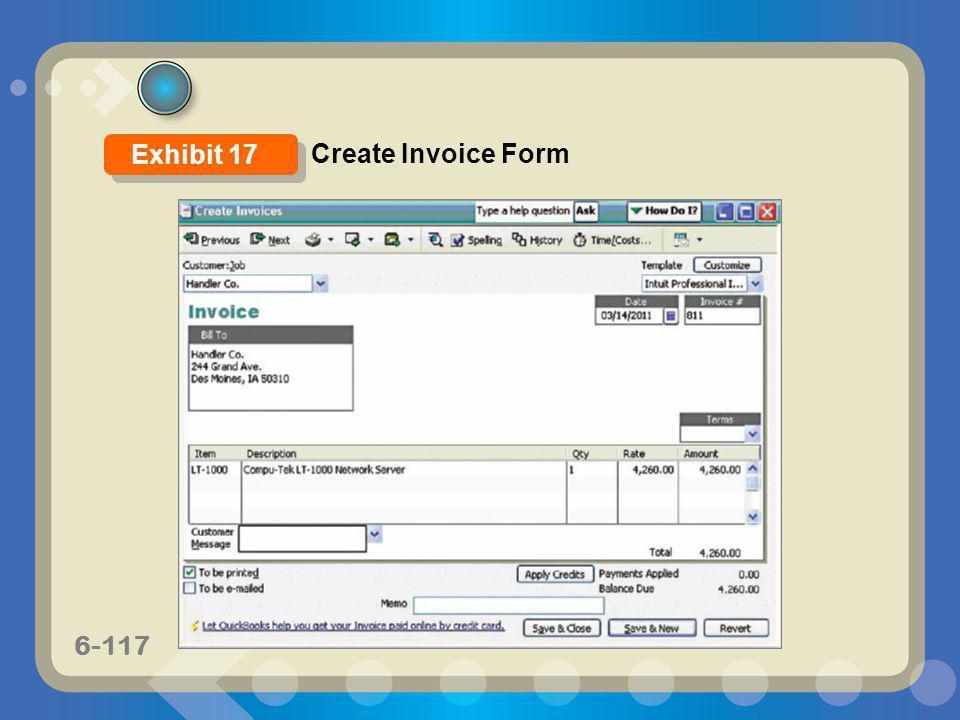 Exhibit 17 Create Invoice Form