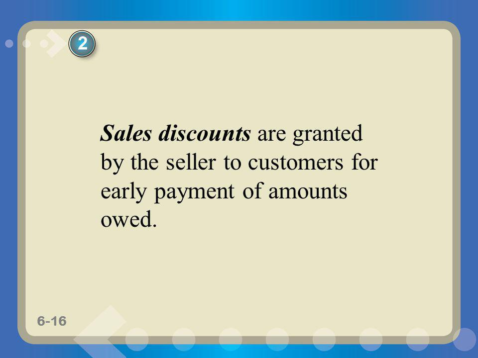 2 Sales discounts are granted by the seller to customers for early payment of amounts owed.