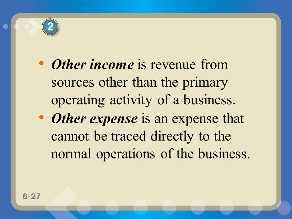 2 Other income is revenue from sources other than the primary operating activity of a business.