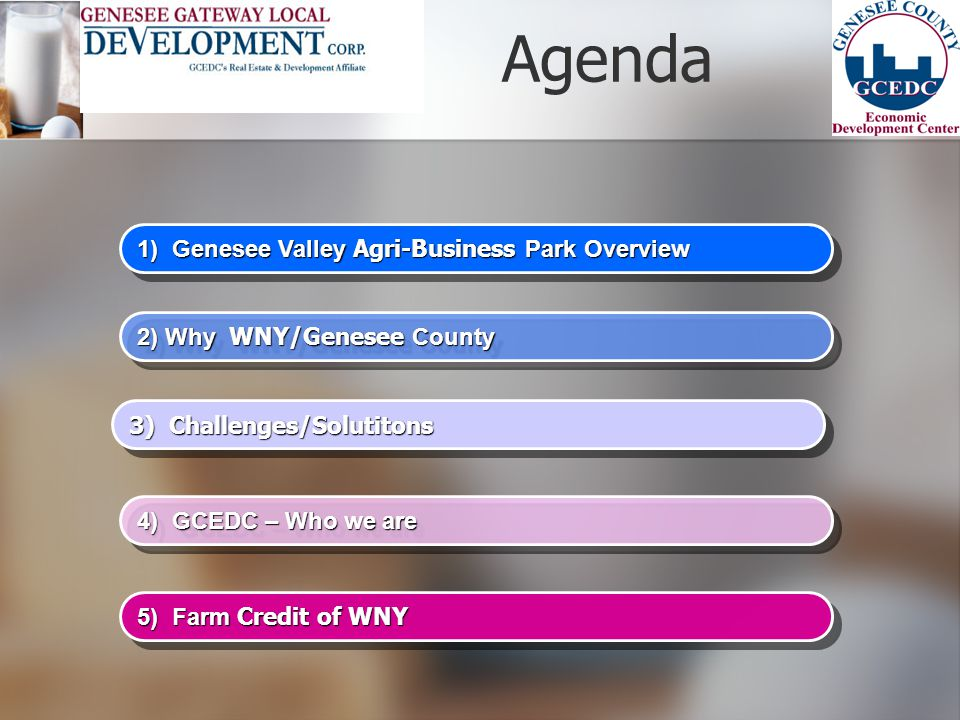 Agenda 1) Genesee Valley Agri-Business Park Overview