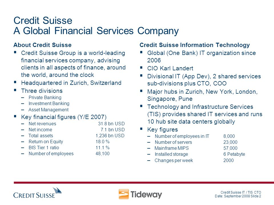 Credit Suisse A Global Financial Services Company