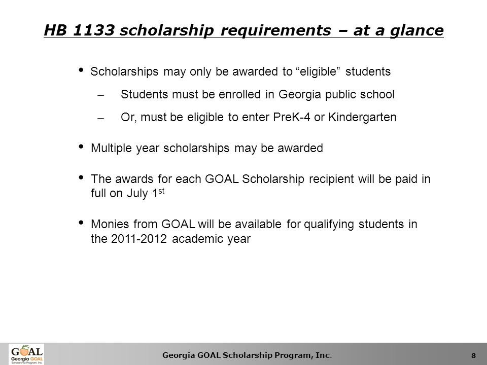 HB 1133 scholarship requirements – at a glance