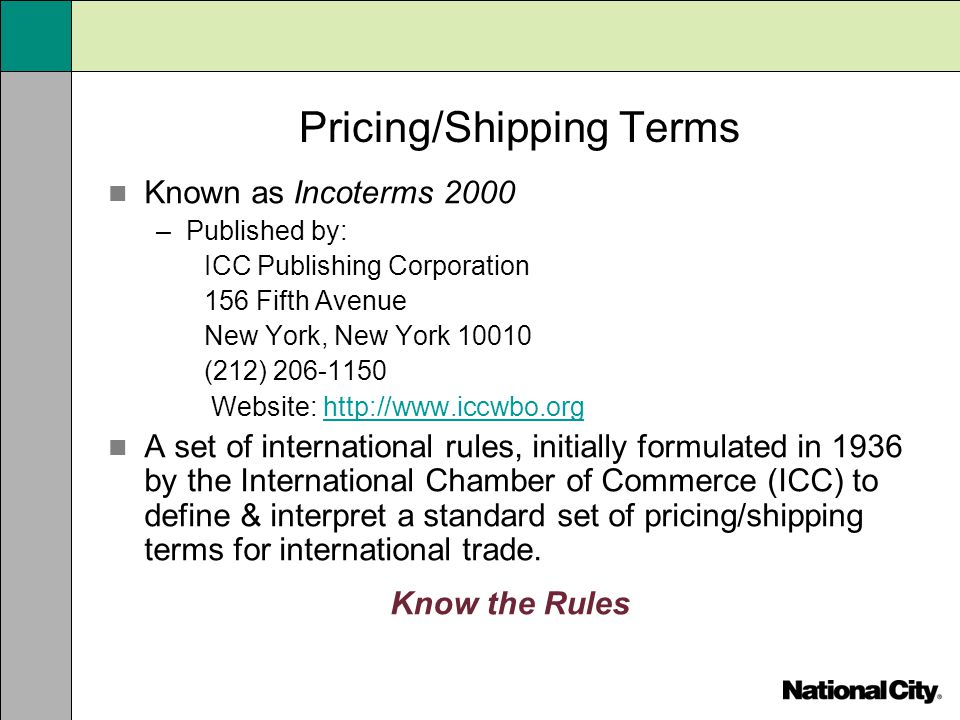 Pricing/Shipping Terms