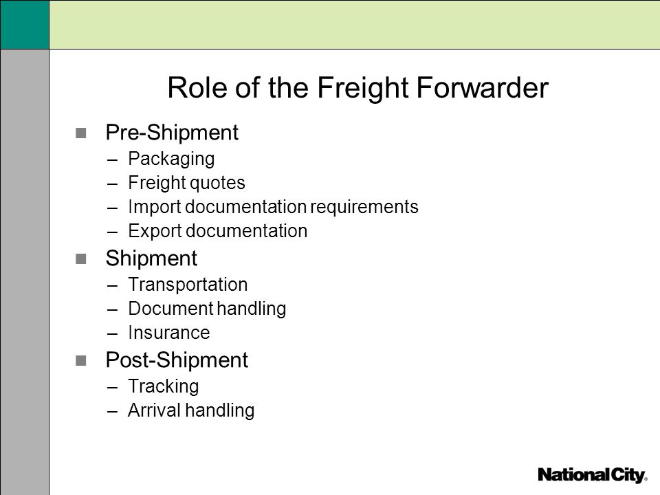 Role of the Freight Forwarder