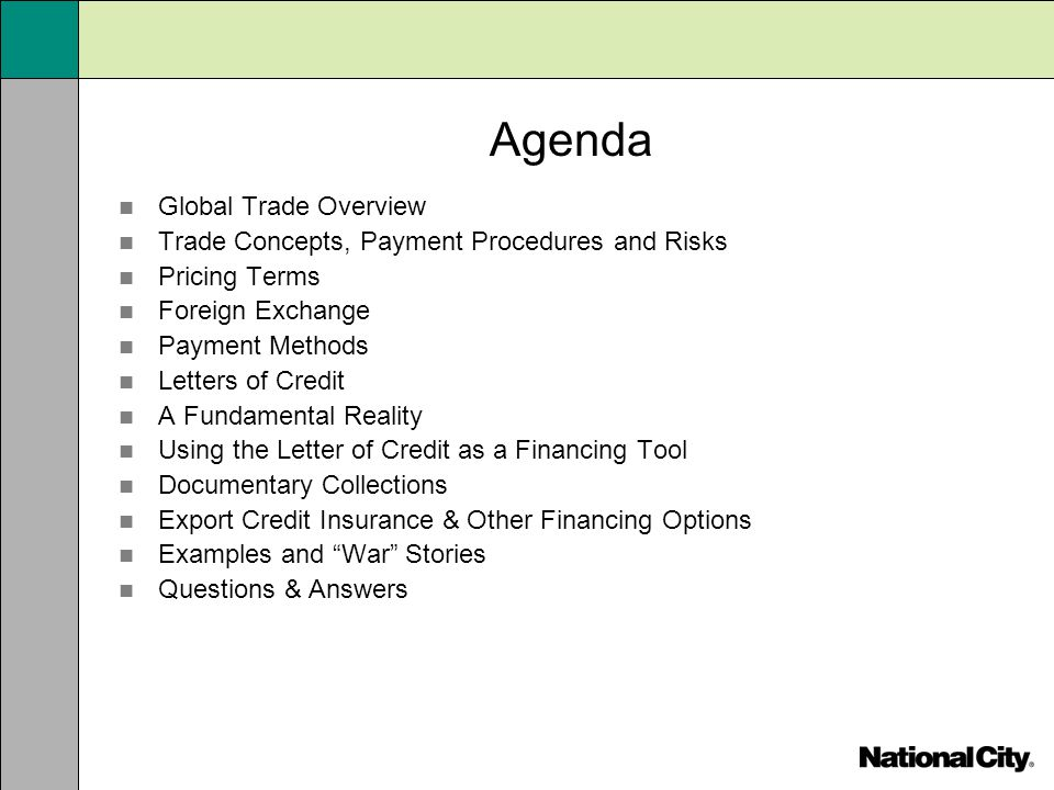 Agenda Global Trade Overview