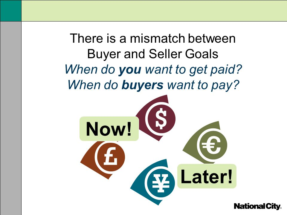 Now! Later! There is a mismatch between Buyer and Seller Goals