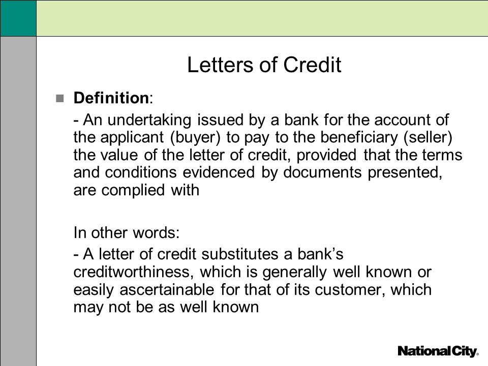 Letters of Credit Definition: