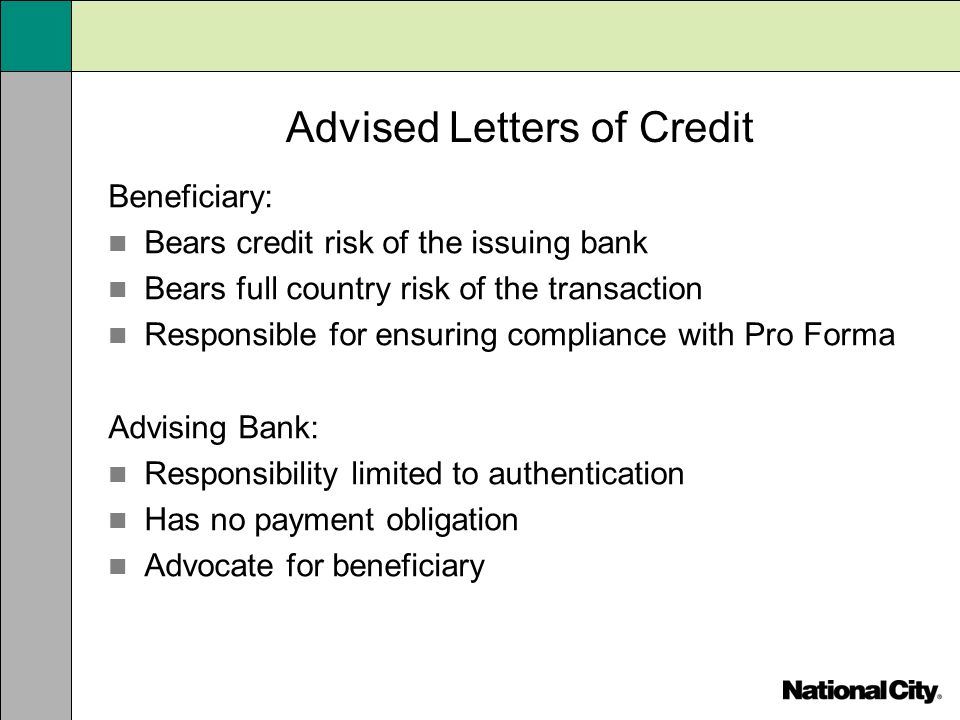 Advised Letters of Credit