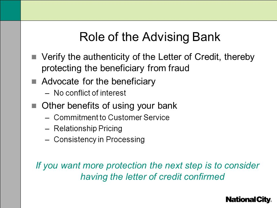 Role of the Advising Bank