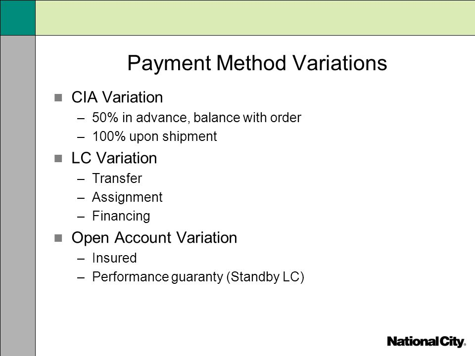 Payment Method Variations