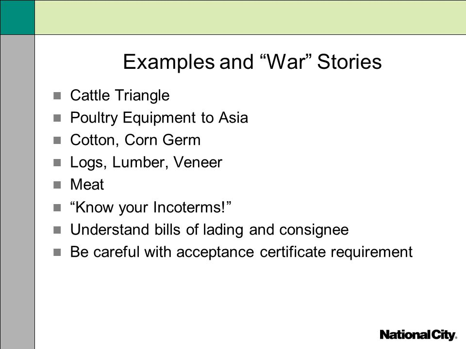 Examples and War Stories