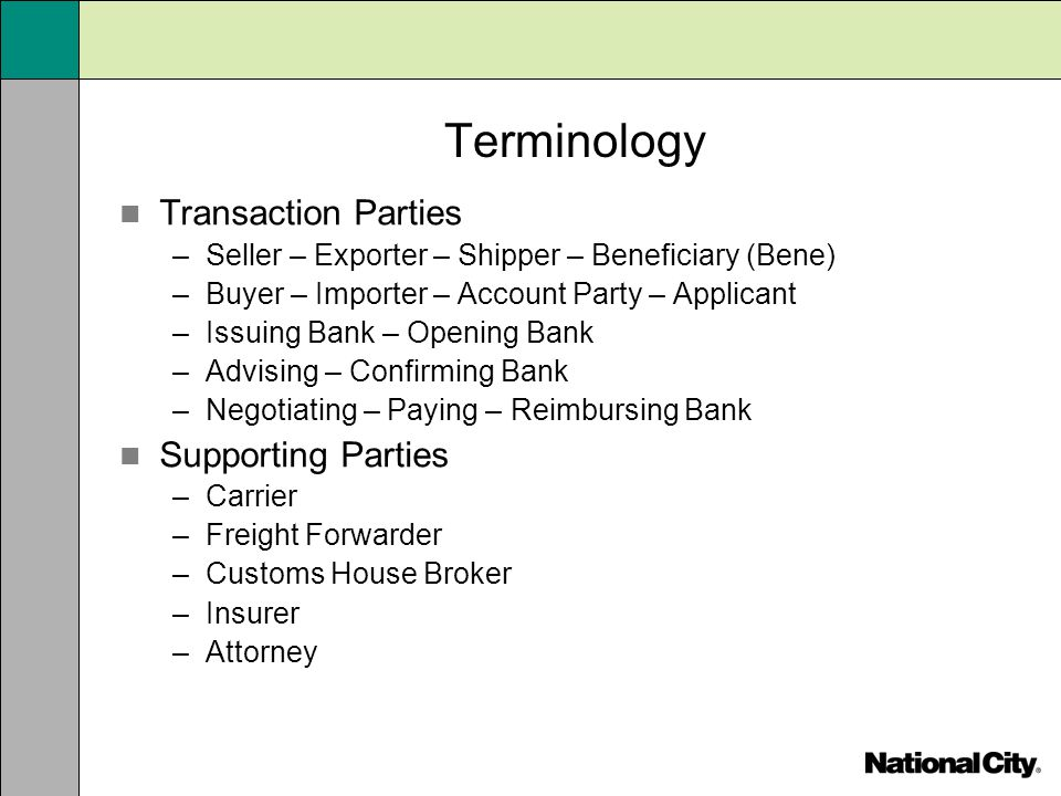 Terminology Transaction Parties Supporting Parties