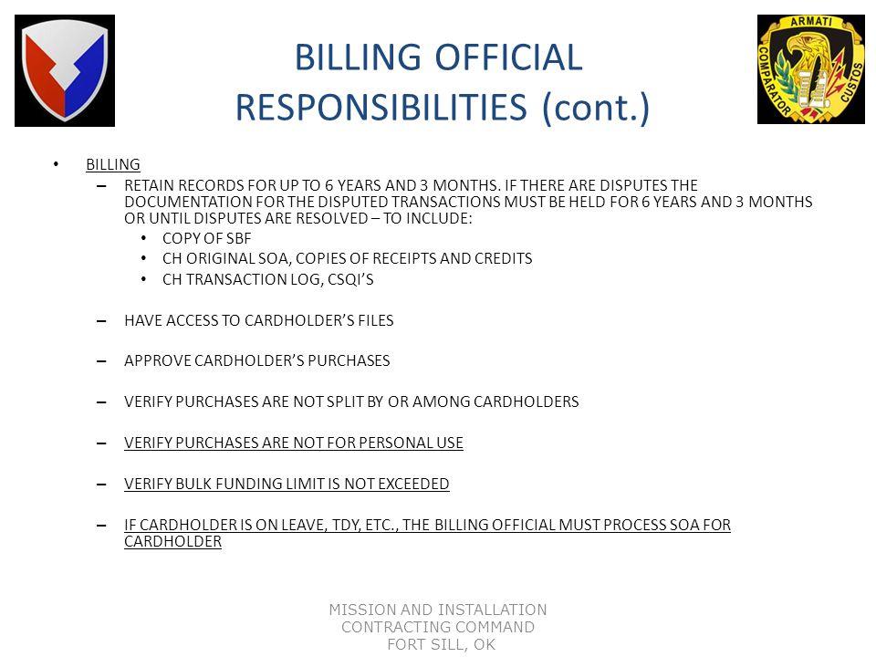 BILLING OFFICIAL RESPONSIBILITIES (cont.)